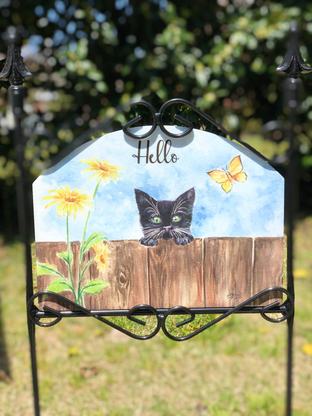Heritage Garden Peaking Kitten Garden Sign