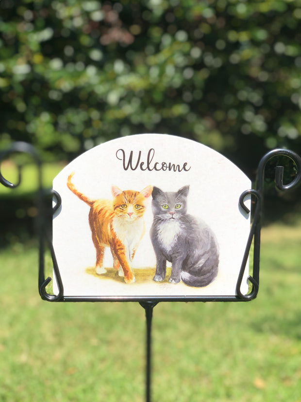 Heritage Gallery Kittens Two Garden Sign