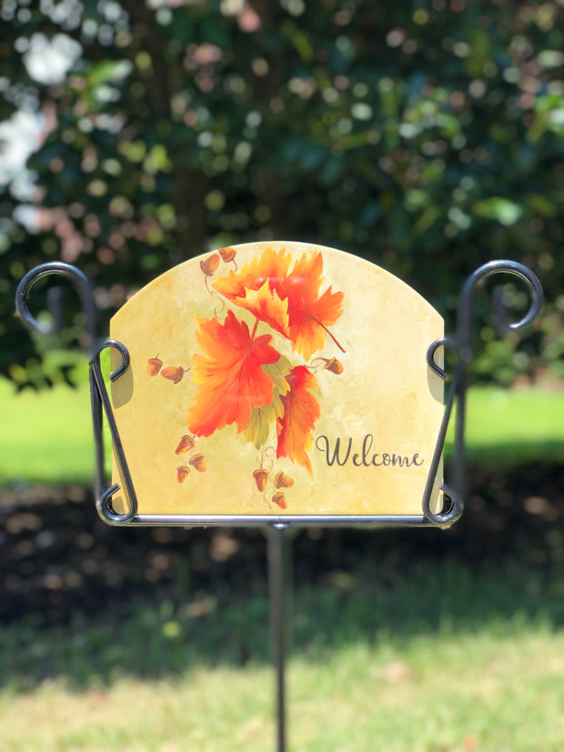 Heritage Gallery Leaves Welcome Garden Sign