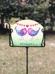 Heritage Gallery Love Birds Garden Sign
