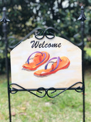 Heritage Gallery Orange Flip Flops Garden Sign