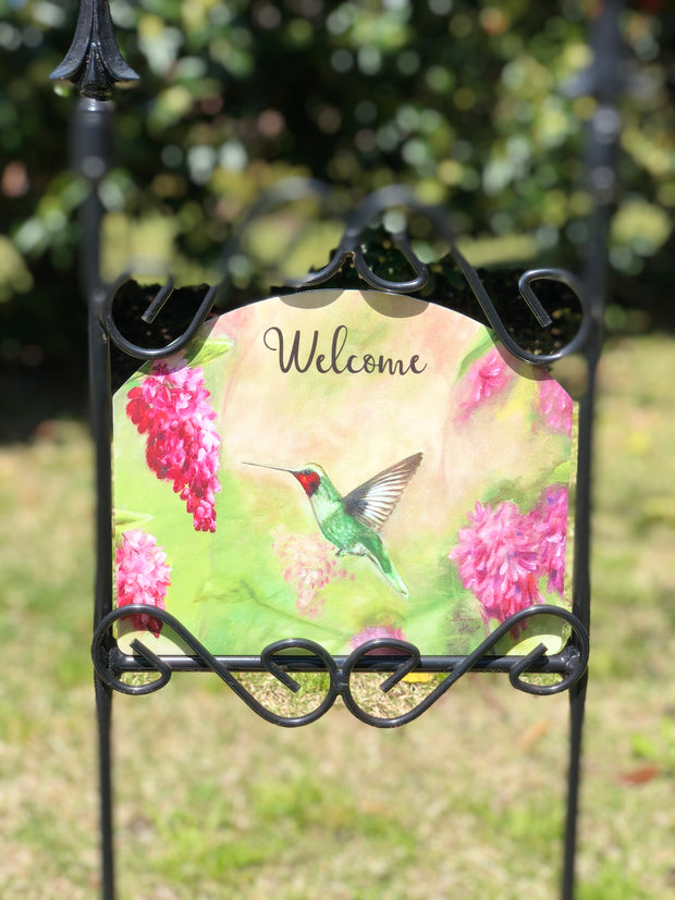 Heritage Gallery Pink Hummingbird Garden Sign