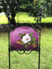Heritage Gallery Plum Magnolia Welcome Garden Sign