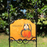 Heritage Gallery Pumpkin Cat Garden Sign