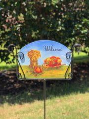 Heritage Gallery Autumn Wheelbarrow Garden Sign