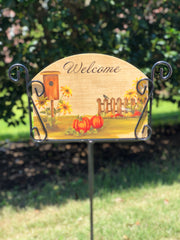 Heritage Gallery Pumpkin Pickett Fence Garden Sign