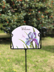 Heritage Gallery Purple Iris with Dragonfly Garden Sign
