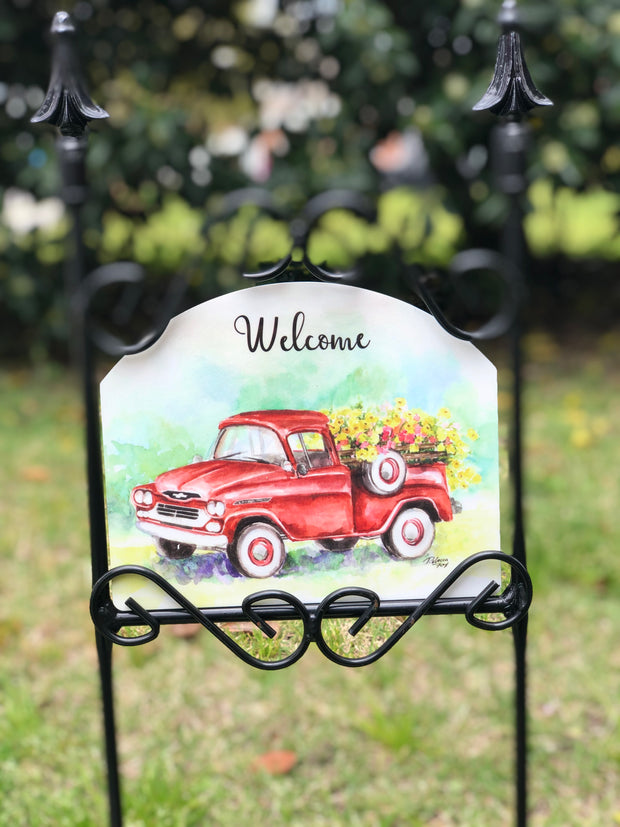 Heritage Gallery Summer Red Truck Garden Sign
