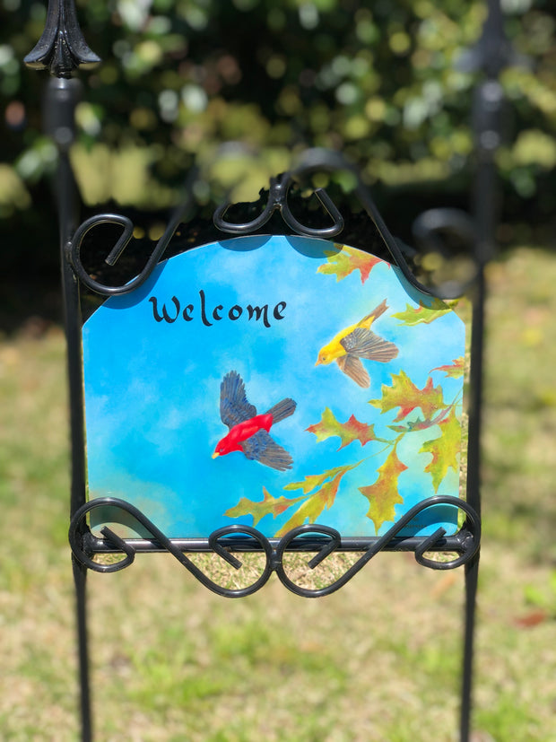 Heritage Gallery Scarlet Tanagers Garden Sign