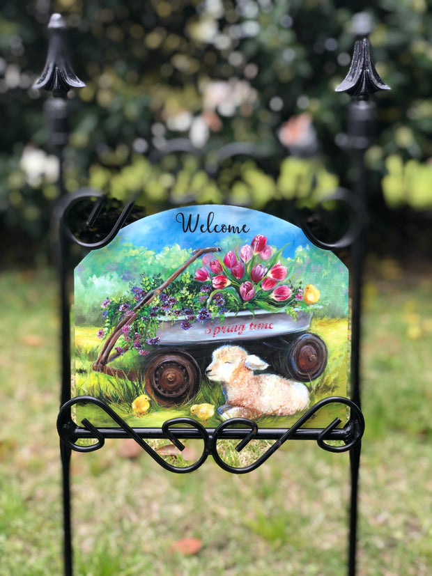 Heritage Gallery Spring Wagon Garden Sign