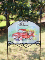 Heritage Galley Summer Red Truck Garden Sign