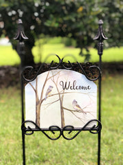 Heritage Gallery Titmouse Welcome Garden Sign