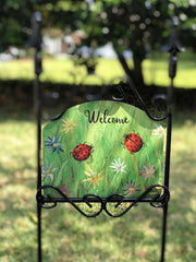 Ladybugs Welcome Garden Sign
