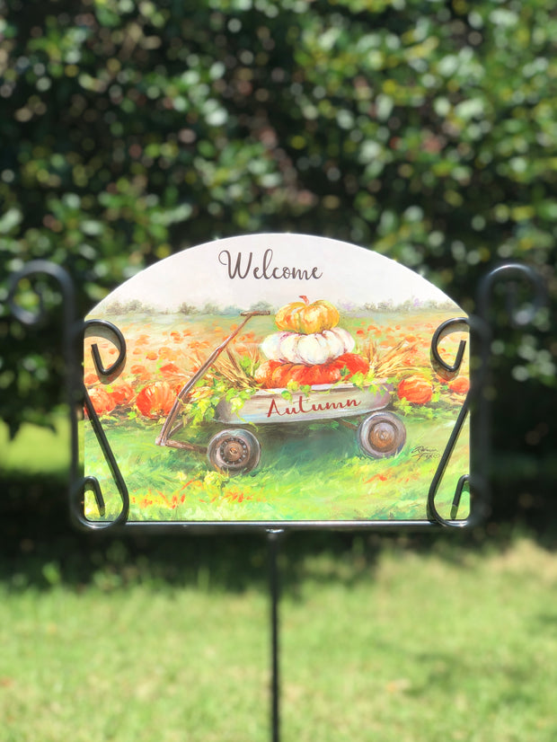 Heritage Gallery Fall Wagon Garden Sign