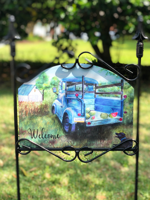 Heritage Gallery Watermelon Truck Welcome Garden Sign
