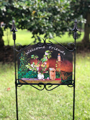 Heritage Gallery Wildflowers Birdhouse Welcome Friends Garden Sign