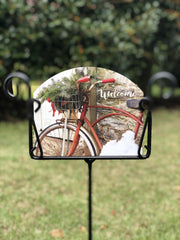 Heritage Gallery Winter Bicycle Garden Sign