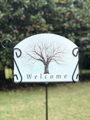 Heritage Gallery Winter Tree Garden Sign