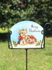 Heritage Gallery Winter Yorkies Garden Sign