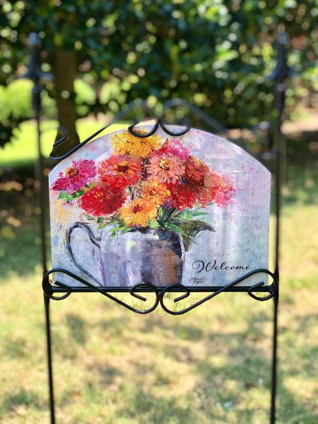 Heritage Gallery Zinnias in Pewter Pitcher Garden Sign