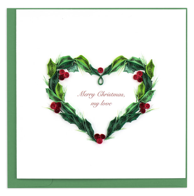 Holly Berry Heart Quilling Card
