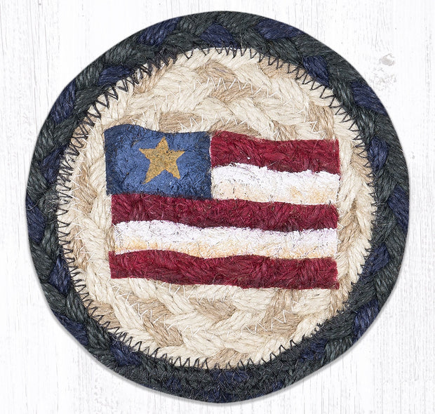 "Capitol Earth Rugs Individual Printed Braided Jute 5"" Coaster, Primitive Star Flag"