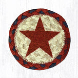 "Capitol Earth Rugs Individual Printed Braided Jute 5"" Coaster, Red Star"