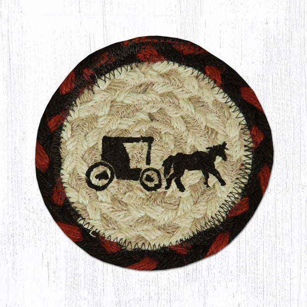 "Capitol Earth Rugs Individual Printed Braided Jute 5"" Coaster, Amish Buggy"