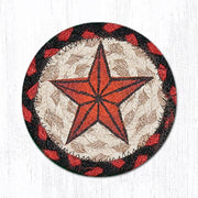 "Capitol Earth Rugs Individual Printed Braided Jute 5"" Coaster, Barn Star"