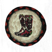 "Capitol Earth Rugs Individual Printed Braided Jute 5"" Coaster, Boots"