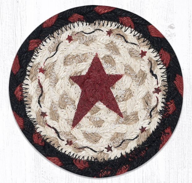 "Capitol Earth Rugs Individual Printed Braided Jute 5"" Coaster, Burgundy Primitive Star"