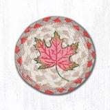 "Capitol Earth Rugs Individual Printed Braided Jute 5"" Coaster, Autumn Leaf"