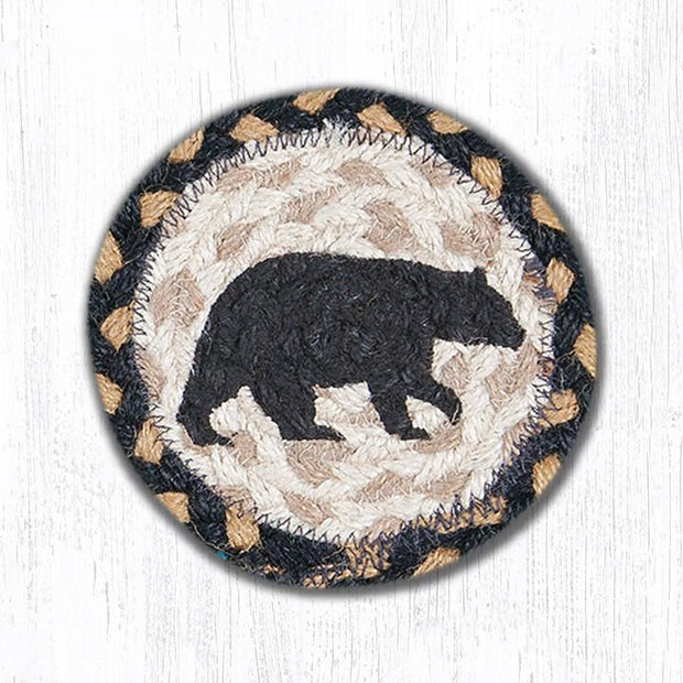 "Capitol Earth Rugs Individual Printed Braided Jute 5"" Coaster, American Bear"