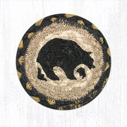 "Capitol Earth Rugs Individual Printed Braided Jute 5"" Coaster, Bear"
