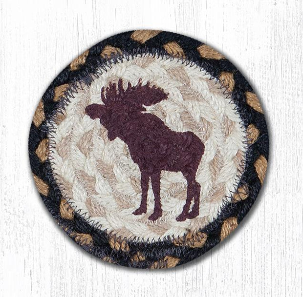 "Capitol Earth Rugs Individual Printed Braided Jute 5"" Coaster, Bull Moose"