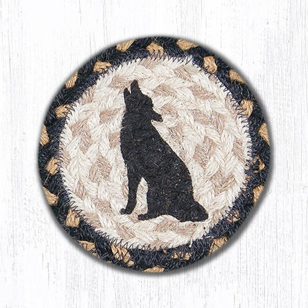 "Capitol Earth Rugs Individual Printed Braided Jute 5"" Coaster, Howling Coyote Silhouette"