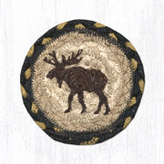 "Capitol Earth Rugs Individual Printed Braided Jute 5"" Coaster, Moose"