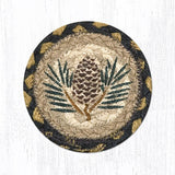 "Capitol Earth Rugs Individual Printed Braided Jute 5"" Coaster, Pinecone"