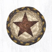 "Capitol Earth Rugs Individual Printed Braided Jute 5"" Coaster, Gold Star"