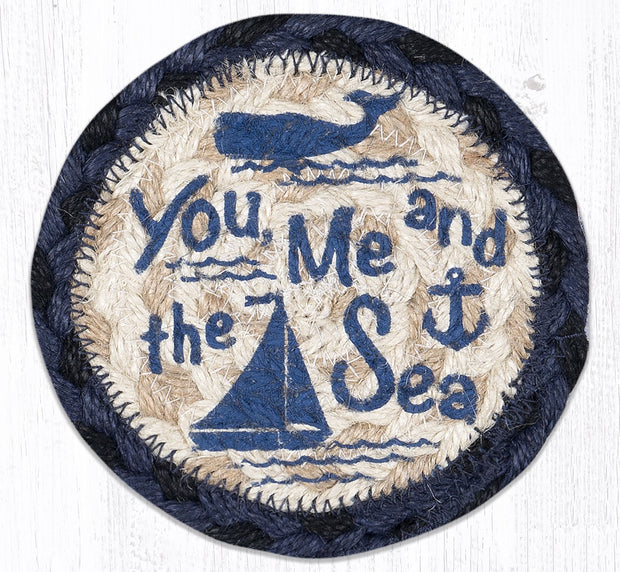 "Capitol Earth Rugs Individual Printed Braided Jute 5"" Coaster, You, Me, & the Sea"