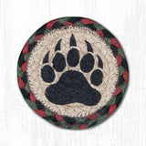 "Capitol Earth Rugs Individual Printed Braided Jute 5"" Coaster, Bear Paw"