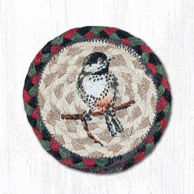 "Capitol Earth Rugs Individual Printed Braided Jute 5"" Coaster, Chickadee"