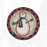 "Capitol Earth Rugs Individual Printed Braided Jute 5"" Coaster, Moon & Star Snowman"