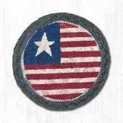 "Capitol Earth Rugs Individual Printed Braided Jute 5"" Coaster, Original Flag"