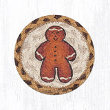 "Capitol Earth Rugs Individual Printed Braided Jute 5"" Coaster, Gingerbread Man"