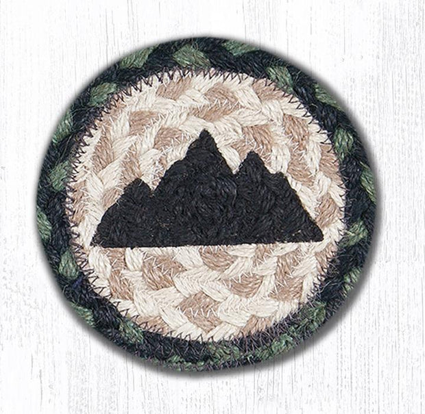"Capitol Earth Rugs Individual Printed Braided Jute 5"" Coaster, Mountain Silhouette"