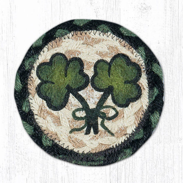 "Capitol Earth Rugs Individual Printed Braided Jute 5"" Coaster, Shamrock"