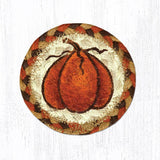 "Capitol Earth Rugs Individual Printed Braided Jute 5"" Coaster, Harvest Pumpkin"
