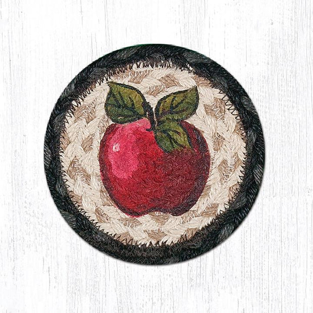 "Capitol Earth Rugs Individual Printed Braided Jute 5"" Coaster, Apple"