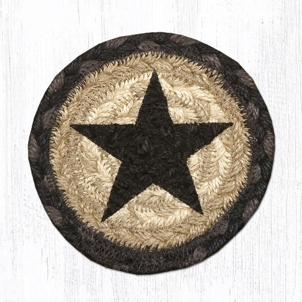 "Capitol Earth Rugs Individual Printed Braided Jute 5"" Coaster, Black star"